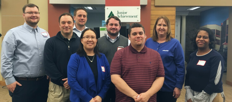 Komatsu Milwaukee volunteers at Junior Achievement's finance park