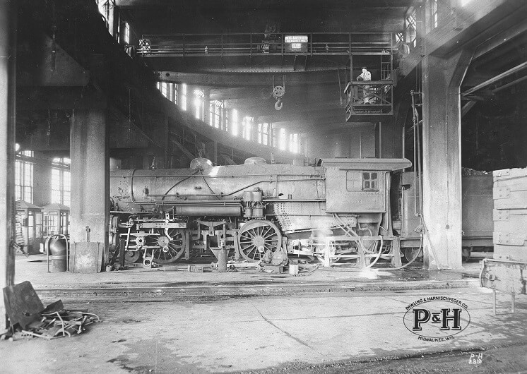 P&H manufacturing building equipped with a hand crane