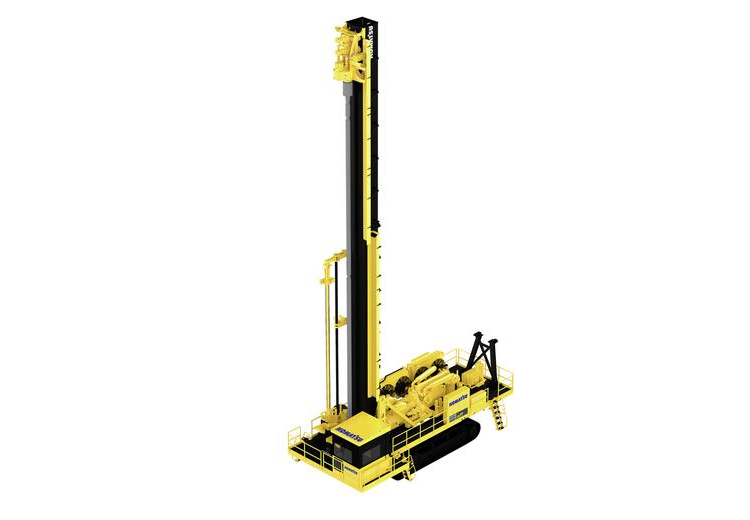 This is a view of the P&H 77XD blasthole drill made by Komatsu Mining.