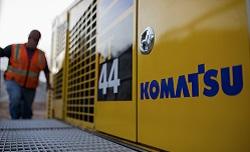 Close up of Komatsu logo on ZT44 blasthole drill