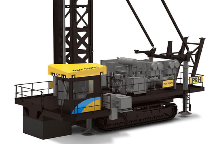 This is a side view of a P&H 250XPC blasthole drill made by Komatsu Mining.