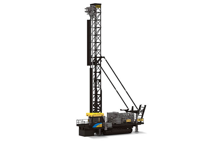 This is a full side view of a P&H 250XPC blasthole drill made by Komatsu Mining.