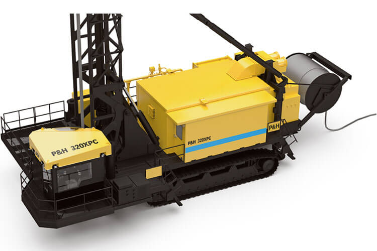 This is a top-down view of a P&H 320XPC blasthole drill made by Komatsu Mining.