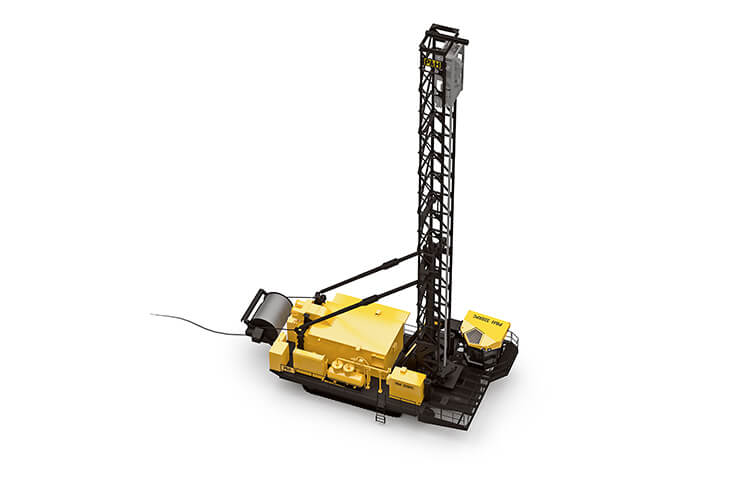 This is a top-down view of a P&H 320XPC blasthole drill made by Komatsu Mining with the drill mast fully extended.
